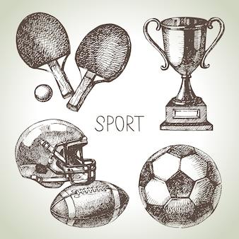 Ручной обращается спортивный набор. эскиз спортивные мячи. иллюстрация