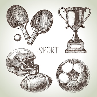 Hand drawn sports set. sketch sport balls.  illustration