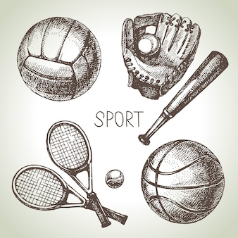 Hand drawn sports set. sketch sport balls.  illustration