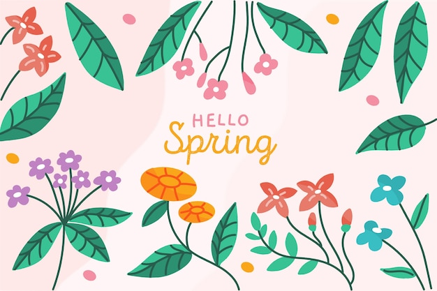 Hand-drawn spring background concept