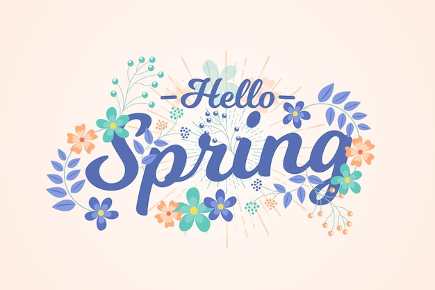 Hand-drawn spring background theme