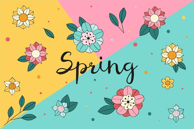 Hand drawn spring background with flowers