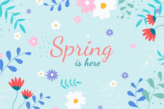 Hand drawn spring background with lettering