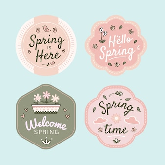 Hand-drawn spring badge collection design