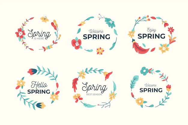 Hand drawn spring badge collection