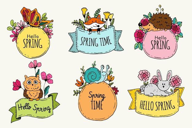 手描きの春のバッジコレクション