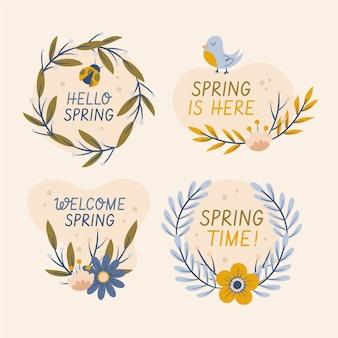 손으로 그린 봄 배지 컬렉션