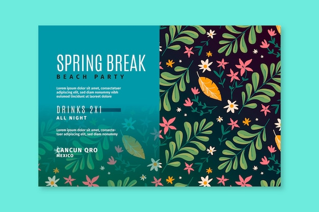 Hand drawn spring banner template