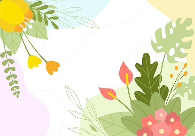 手描き春の植物の花の花のイラスト背景