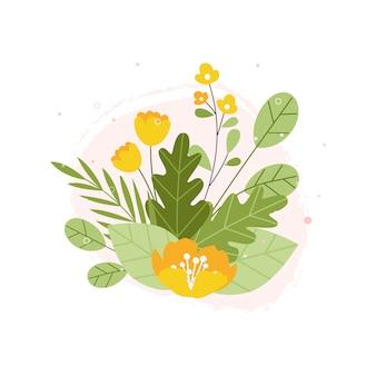 手描きの春の植物の花の花のイラスト