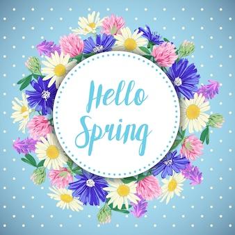 野生の花の花輪と手描き下ろし春カード。