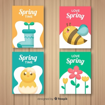 Hand drawn spring elements card collection