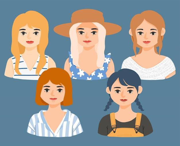 Hand drawn spring fashion girl avatar character illustration