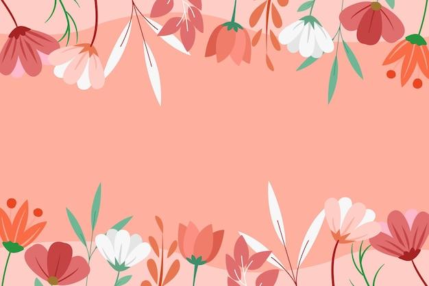 Hand drawn spring floral background flat design