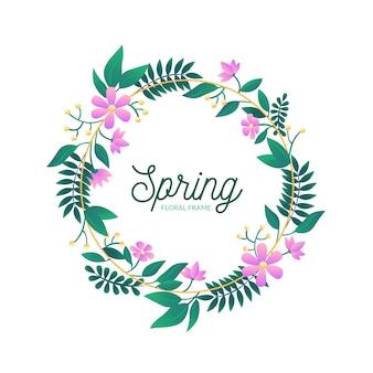 Hand-drawn spring floral frame concept