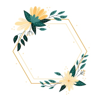 Hand-drawn spring floral frame design