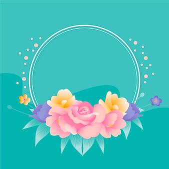 Hand-drawn spring floral frame theme
