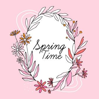 Cornice floreale di primavera disegnata a mano con scritte
