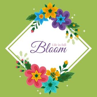 メッセージと手描き春花フレーム