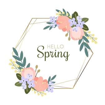 テキストと手描き春花フレーム