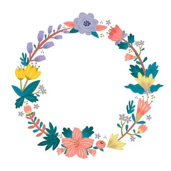 Hand-drawn spring floral frame