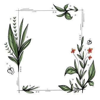 Ручной обращается весенняя цветочная рамка