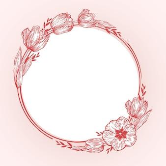Cornice floreale primaverile disegnata a mano