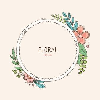 손으로 그린 된 봄 꽃 프레임