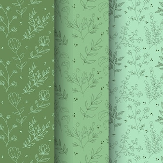 Hand drawn spring floral and leaves seamless pattern set