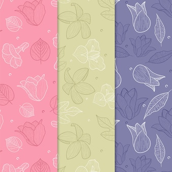 Hand drawn spring floral pattern collection