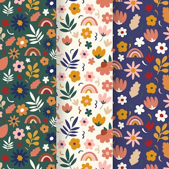 Hand drawn spring floral pattern set