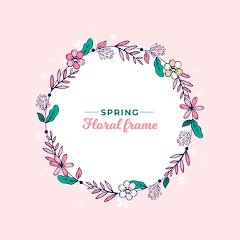 Hand drawn spring floral wreath frame