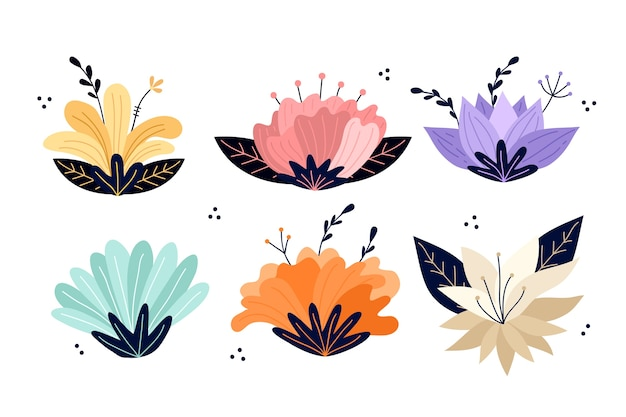 Hand drawn spring flower collection concept