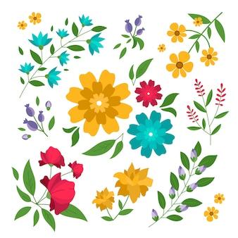 Concetto di raccolta di fiori di primavera disegnati a mano