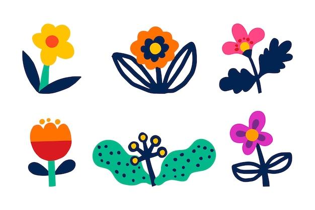 손으로 그린 봄 꽃 모음 디자인