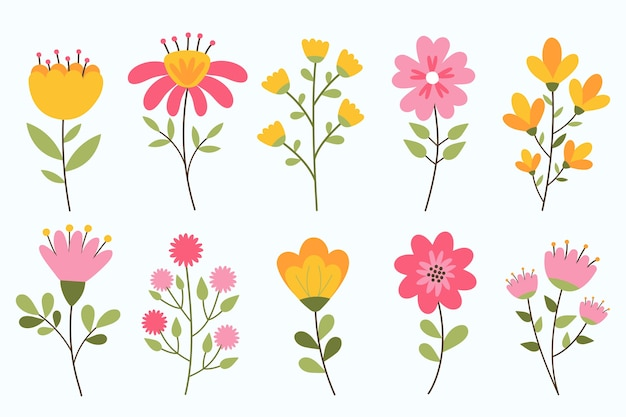 Hand drawn spring flower collection isolated on white background