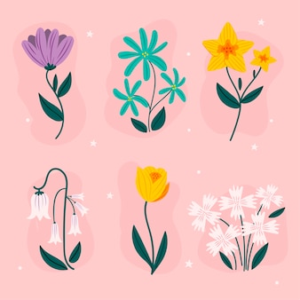 Hand-drawn spring flower collection