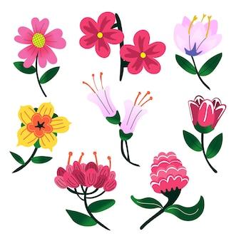 手描きの春の花コレクション