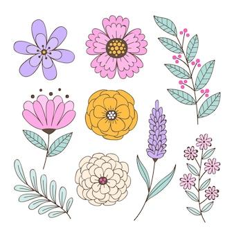 Collezione di fiori primaverili disegnati a mano