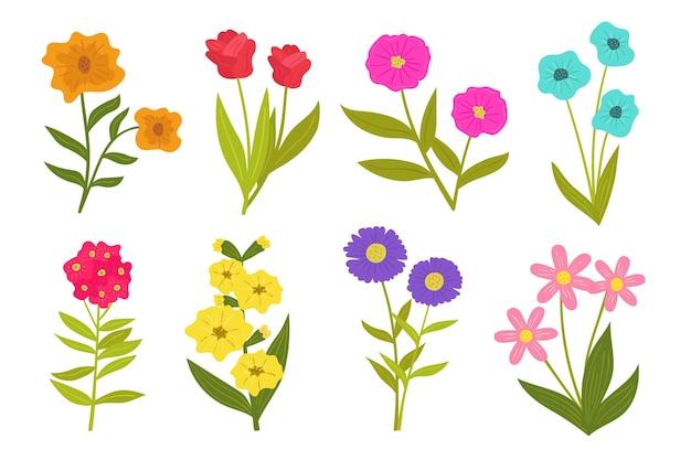 Коллекция рисованной весенних цветов
