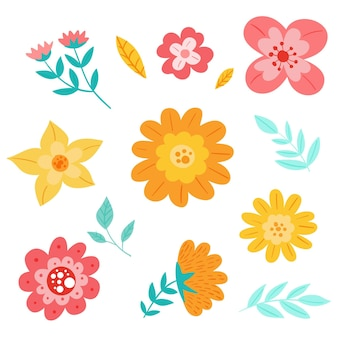 손으로 그린 봄 꽃 팩