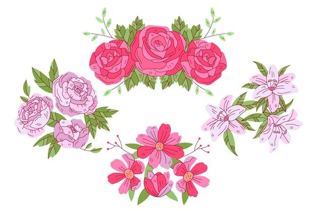 Confezione di fiori primaverili disegnati a mano