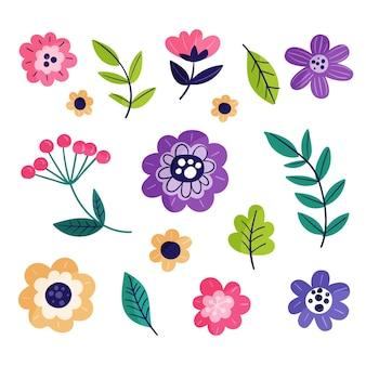 Hand drawn spring flower set