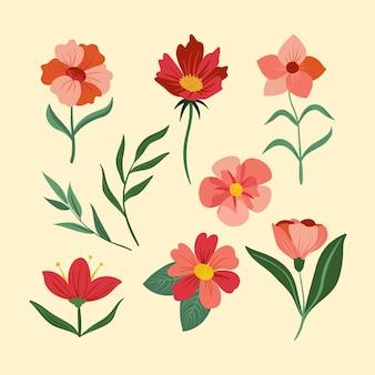 손으로 그린 봄 꽃 세트