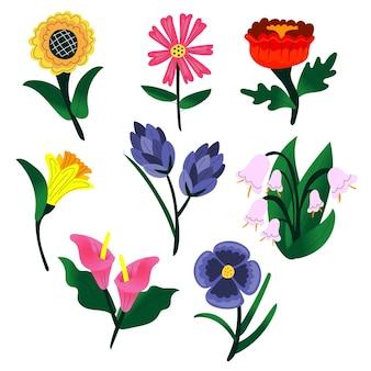 手描きの春の花セット