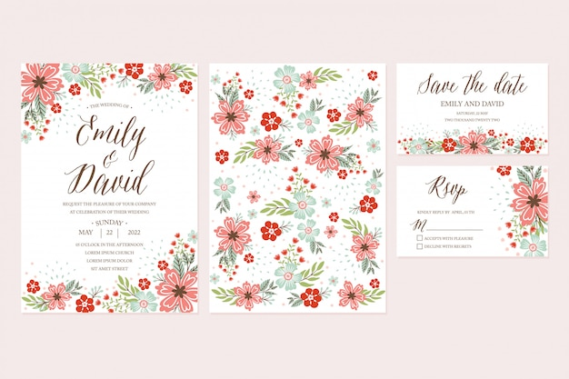 Hand drawn spring flower wedding invitation, thank you card, rsvp, save the date. printable templates with floral, flower collection