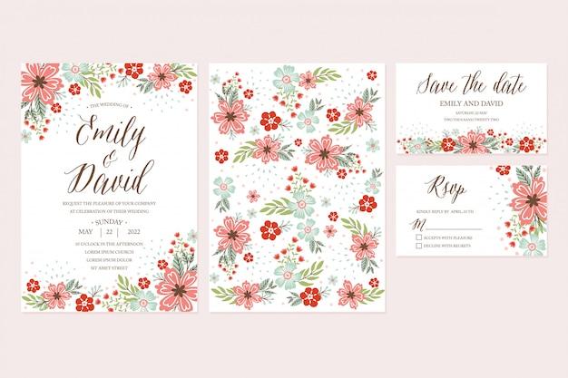 손으로 그린 봄 꽃 청첩장, 감사 카드, rsvp, 날짜 저장. 꽃, 꽃 모음이있는 인쇄 가능한 템플릿