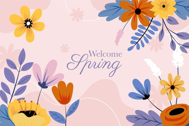 Hand drawn spring flowers background