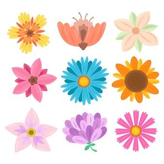 손으로 그린 봄 꽃 모음 테마