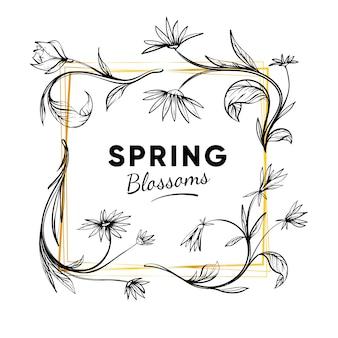 Cornice primavera disegnata a mano con fiori